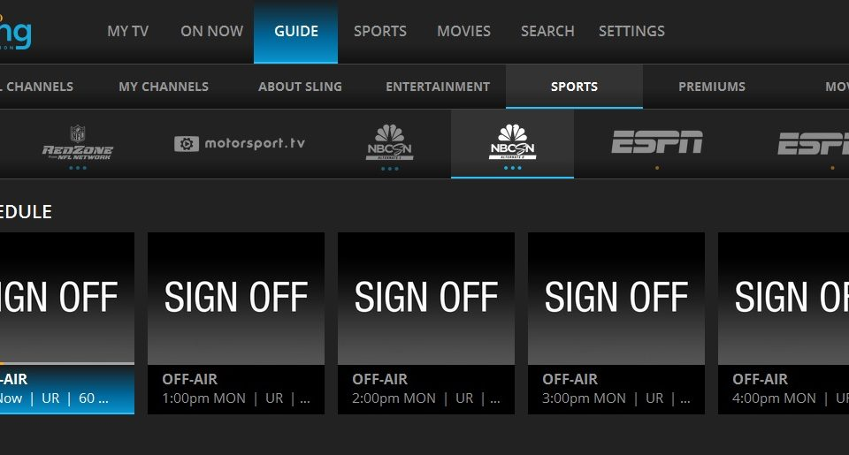 NBCSN Alt and Alt2 Off Air On Sling TV